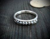 stormy sea … grey pearl stack ring