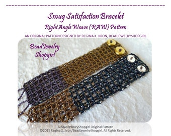 PATTERN TUTORIAL – Smug Satisfaction Bracelet, Right Angle Weave Pattern with Farfalle and Seed Beads - Digital Download