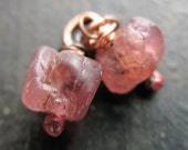 Raw Ruby Spinel Bead Charms no.3 - 1 pair