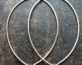 Antiqued Sterling Silver Long Oval Hammered Hoops - 1 pair