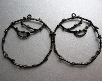 Branch Silver Plated Hoop Findings in Chestnut Brown - 1 pair