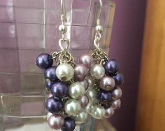 Purple, Lavender and White Pearl Beaded Cluster Earrings