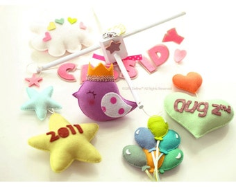 NEW Baby Story, Luxe Custom Personalized Baby Mobile with Baby Name, Birth Date, Decorative Mobile with Balloons, Hearts, Stars, Cloud, Bird