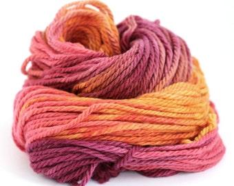 Handdyed chunky wool, bulky superwash merino yarn, knitting crochet Perran Yarns, Sunset Party, uk seller, yarn skein hank, summer Fiesta