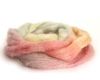 Laceweight kid mohair silk yarn, handdyed Perran Yarns lace knitting crochet wool, Unicorn Clouds, pale pastel blue green pink lemon, uk