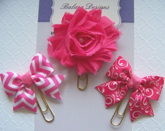 Hot Pink Flower, Bows Planner Clips, Bookmark, Planner Accessory, Paper Clip