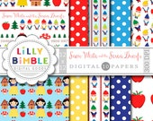 80% off Snow White and the Seven Dwarfs, dwarves, fairy tale, birthday, digital paper, scrapbook Instant Download