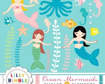 Mermaid clipart with seahorses, underwater sea fish, octopus, seaweed for birthday INSTANT DOWNLOAD