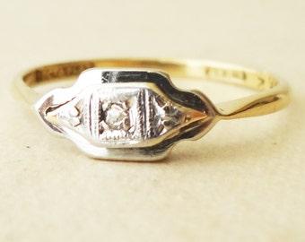 Art Deco Geometric Diamond Ring, 18k Gold Platinum and Diamond Engagement Ring Approx. Size US 6.25 / 6.5