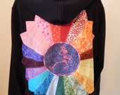 Upcycled Zip Up Hoodie Black Rainbow Patchwork Mandala Grateful Dead Skeleton OOAK Women Size XL Extra large Hippie clothes, upcycled hoodie