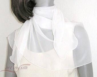 "Small White Scarf, Sheer Silk Coverup, Petite White Scarf, Sheer White Wrap, White Chiffon Scarf, Bridal Sheer Silk, 20""x 43"", Petite S XS"