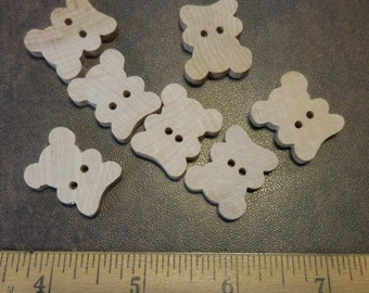 Unfinished Wood  Buttons Teddy Bear Shaped - 7 Pieces #500709
