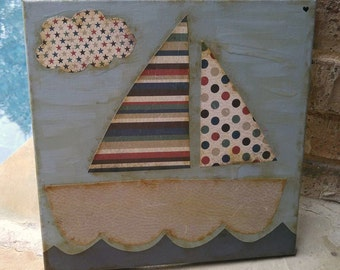 Red and Navy Nautical Boat Mixed Media Whimsical & Unique Sailboat OOAK Painting  Ocean Folk Art Custom Boy Nursery Children's Room Wall Art