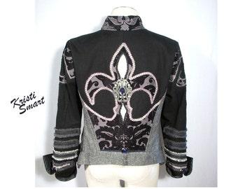 Unisex fleur de lis  burning man rock and roll stage jacket