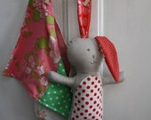 40% OFF FLASH SALE- Primitive Softie Bunny-Doll-One of a Kind-Blankie-Handmade Stuffed Animal-Gift