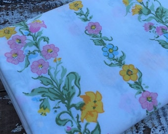 40% FLASH SALE- Vintage Floral Fabric-  Reclaimed Vintage Bed Linens Fabric-Pastels