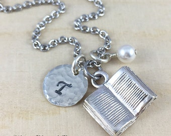 Book Charm Necklace, Personalized With Initial Charm And Birthstone, Teacher Necklace, Reader Gift, Librarian Necklace