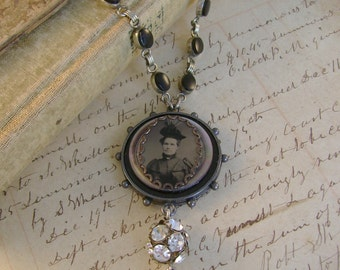 A Wild Patience - Antique 1870s Tintype Photograph, Buttons, Rhinestone, Watch Chains Steampunk Recycled Repurposed  Assemblage Necklace