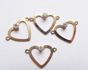 On Sale Vintage gold plate heart and rhinestone charms
