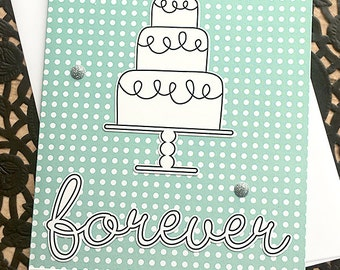 "Forever Polka-Dot Wedding Card, Cake, Teal, White, Glitter, Die-Cuts, Congratulations, Best Wishes, Happy Couple, Love, Sweet - 4.25"" x 5.5"""