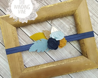 Mustard Yellow/Navy/Dusty Blue Felt Flowers and Feathers Headband/Clip/Barrette with Gold Leaves for Baby, Child, Teen, or Adult