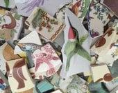 Mosaic Tiles Mix Broken Plate Art Hand Cut Pieces Supply Random Art Mix Vintage Birds Retro 250