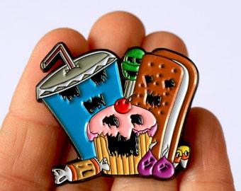 Axis of Evil Enamel Pin - Evil Zombie Cupcake, Ice Cream Sandwich, Candy & Soda - Art by Marcia Furman