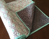 Mint Green and Grey modern baby blanket with Minky