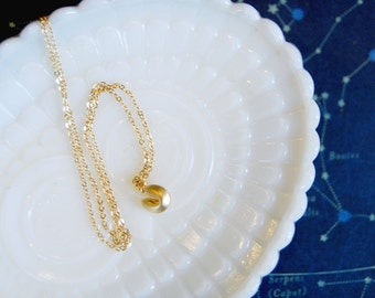 tiny food- fortune cookie necklace- good luck charm - matte gold plated