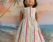 sALE American Girl Doll Clothes Tea Length Sun Dress Pastel Valentine Stripe Medley Gently Gathered