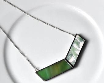 Broken China and Stained Glass Chevron Necklace - Green