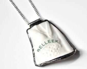 Broken China Jewelry Pendant - Green Belleek