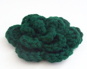 Layered Flower Crochet Applique, Hunter Green Crochet Flower, Crochet Flower Embellishment, Three Layered Flower, Crochet Flower Motif