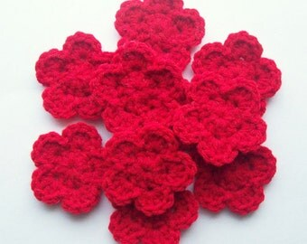 Crochet Flower Appliques, Red Crochet Flowers, Crochet Flower Embellishment, Scrapbooking, Set of 10, Crochet Flower Motif