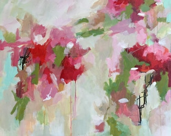 large abstract acrylic painting, abstract floral, pamela munger, contemporary art, pink colors pink and green