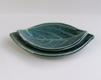 Ceramic Leaf Plates, Hand Built, Nested,  Persimmon, Antique Blue