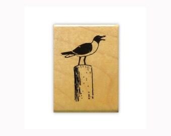 Seagull mounted bird rubber stamp, ocean, beach, shore bird, Sweet Grass Stamps  No.9