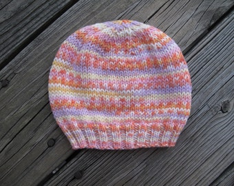 Knit Baby Girl Hat Self-Striping Soft Acrylic Hand-Knitted  (three to six months) OOAK