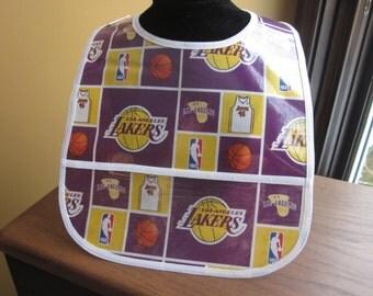 WATERPROOF WIPEABLE Baby to Toddler Plastic Coated Bib Los Angeles Lakers