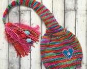 12 - 18 month Baby Girl Knit Hat BaBY PHoTO PRoP Fat Tassel ButtoN Stocking Cap PiXIE Beanie Hot Pink Aqua Purple Toddler SWeET HeART Toque