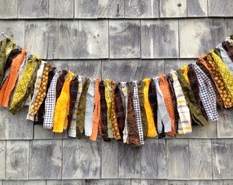 Fabric Fringe BANNeR Boy Prop SHaBby CHiC Baby Photo Prop RTS Rag Garland HoME DeCoR WaLL HANGiNG Brown Yellow Retro KID Room BaSKeT STuFFeR