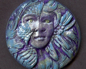 Polymer  Clay Detailed Blue with Pearl Art Nouveau Goddess Cab  ANBP 1