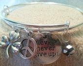 Modern charm bracelet - stackable  - Never Give Up, lucky clover, peace, silvery bead
