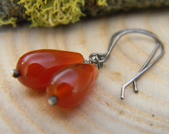 red onyx and rustic silver earrings