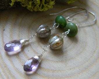 SALE - sparkling amethyst, chrysoprase and czech glass earrings - dangle - sterling silver