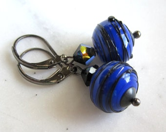 Cobalt Blue Lampwork Earrings, Blue Lampwork Earrings, Dangle Earrings, Leverbacks, Under 25,