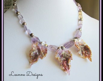 Lavender and Gold Glass with Ametrine  Necklace