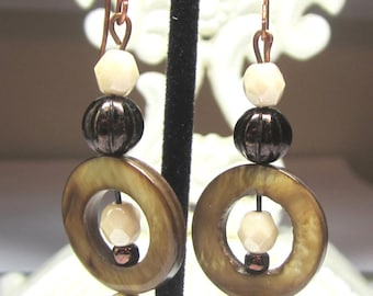 Ivory and Brown Glass Earrings. Ivory Raku Lampwork Earrings. Lampwork and Shell Earrings. Under 50, OOAK.