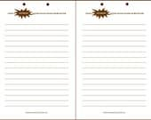 Printable Lined Page (Letter Size) - Notebook Refill - Brown Superhero Theme