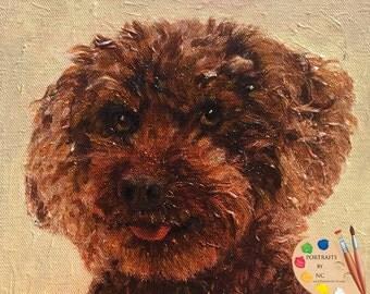 Brown Poodle Portrait - Poodle Custom Dog Portrait - Poodle Painting from your Photo - Portraits by NC